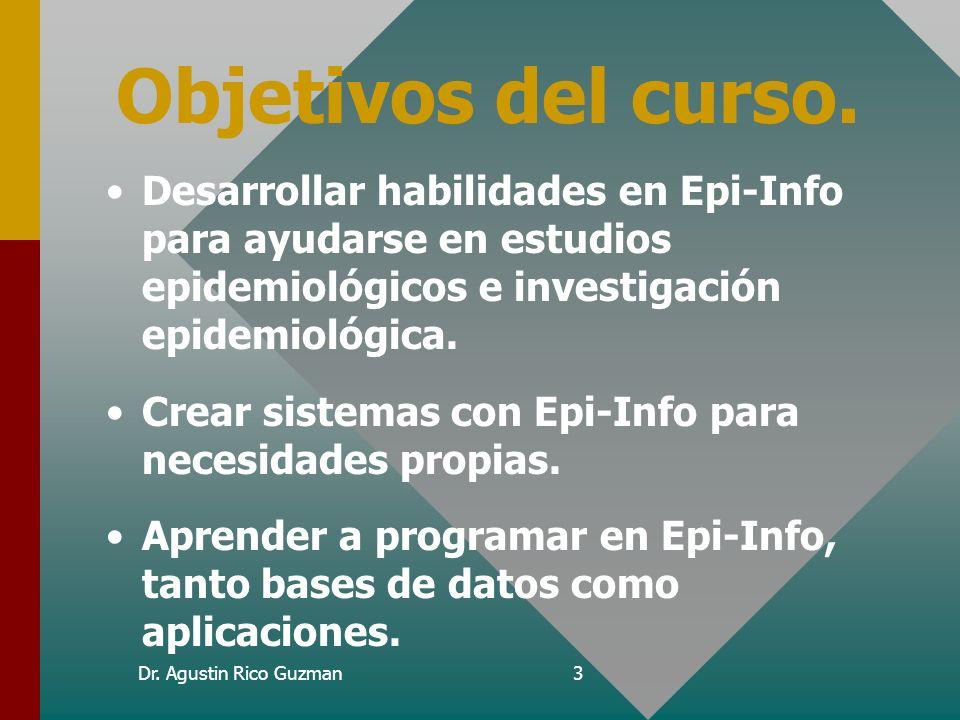 Dr. Agustin Rico Guzman2 Antes de Empezar... Aclaraciones. Este curso no es epidemiología ni estadística. La aplicación del programa depende de cada n