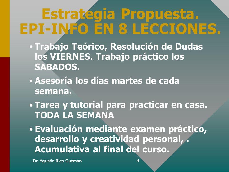 Dr. Agustin Rico Guzman3 Objetivos del curso. Desarrollar habilidades en Epi-Info para ayudarse en estudios epidemiológicos e investigación epidemioló