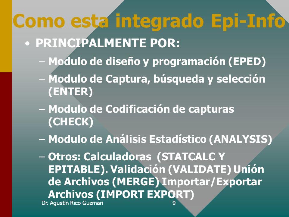 Dr. Agustin Rico Guzman8 Que necesito para Epi-Info ? Computadora PC con 640kb RAM, recomendable disco duro Epi Info corre bajo D.O.S. 2.12 o superior