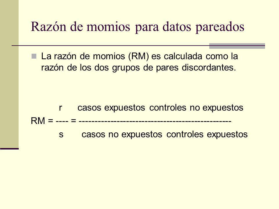 Razón de momios para datos pareados La razón de momios (RM) es calculada como la razón de los dos grupos de pares discordantes. r casos expuestos cont