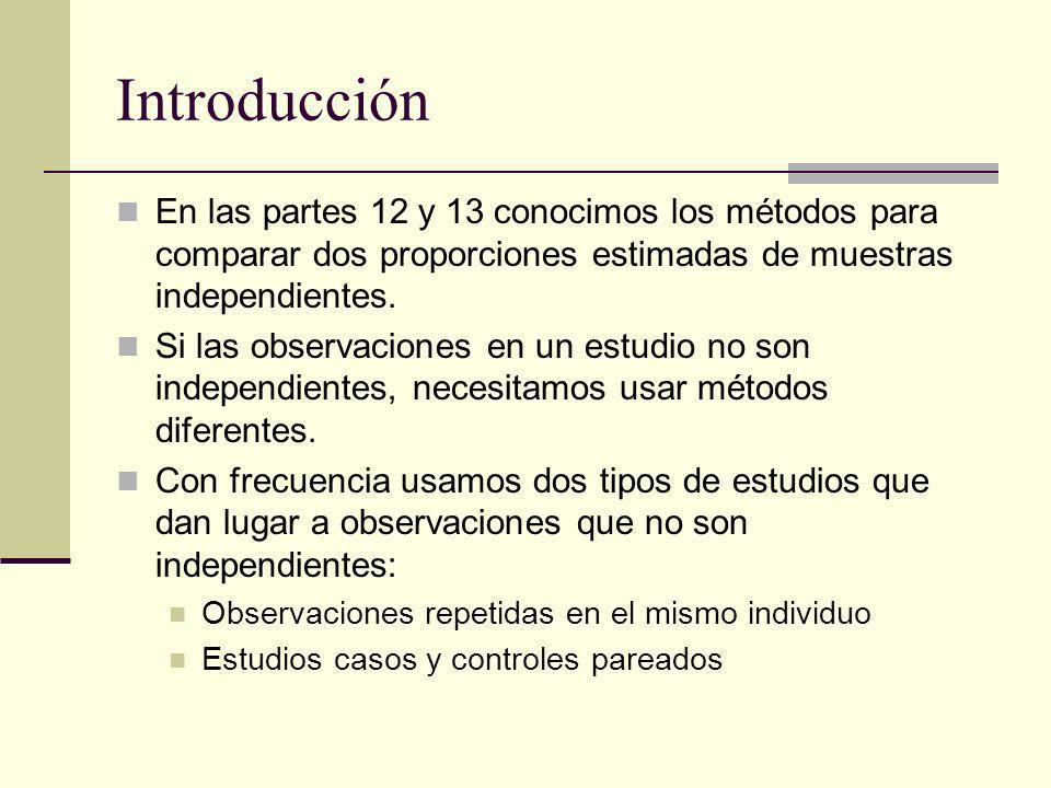 Introducción En las partes 12 y 13 conocimos los métodos para comparar dos proporciones estimadas de muestras independientes. Si las observaciones en