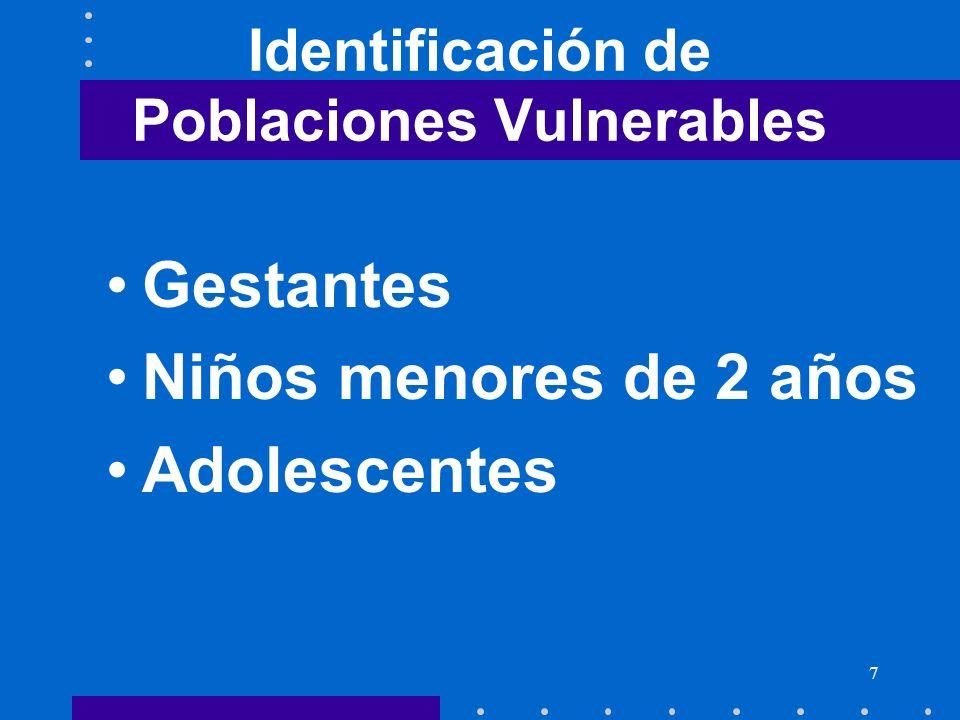 7 Identificación de Poblaciones Vulnerables Gestantes Niños menores de 2 años Adolescentes