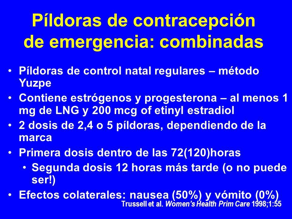 Píldoras de contracepción de emergencia: combinadas Píldoras de control natal regulares – método Yuzpe Contiene estrógenos y progesterona – al menos 1