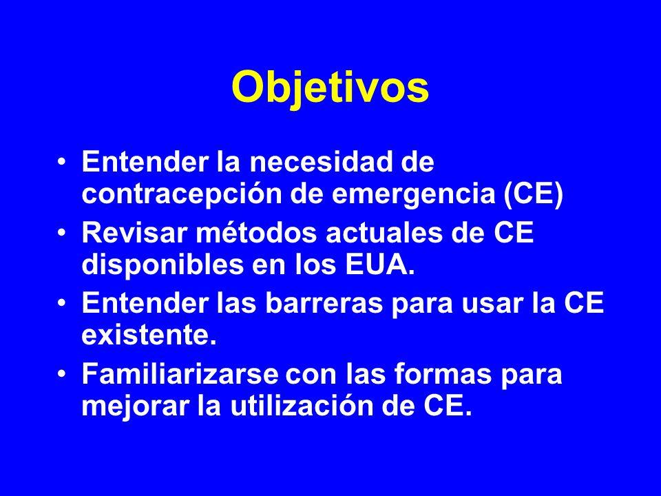 Objetivos Entender la necesidad de contracepción de emergencia (CE) Revisar métodos actuales de CE disponibles en los EUA. Entender las barreras para
