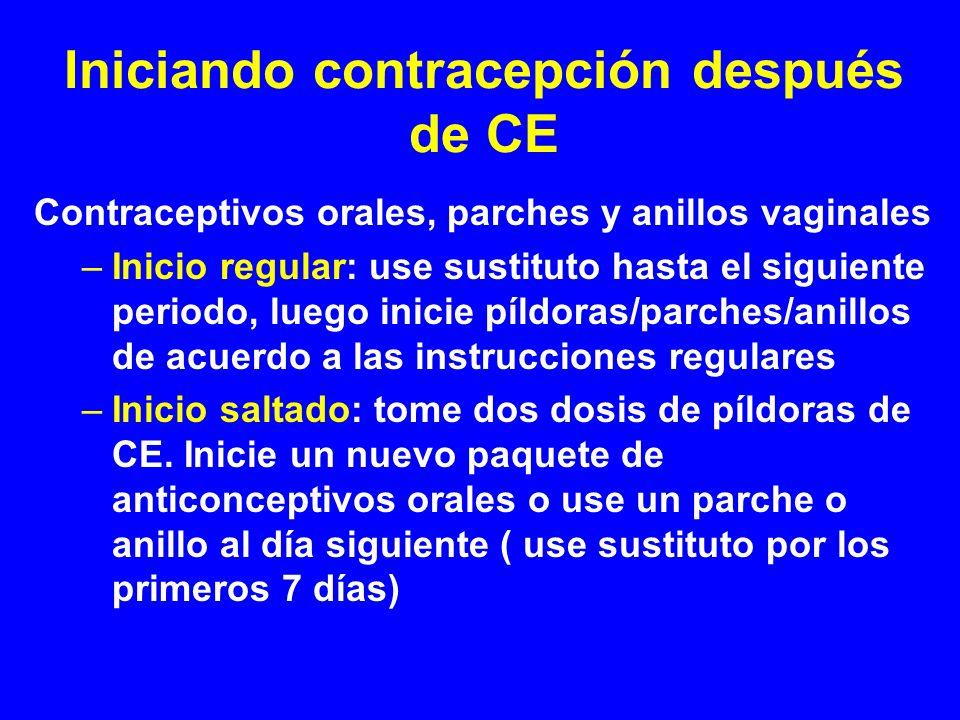 Iniciando contracepción después de CE Contraceptivos orales, parches y anillos vaginales –Inicio regular: use sustituto hasta el siguiente periodo, lu