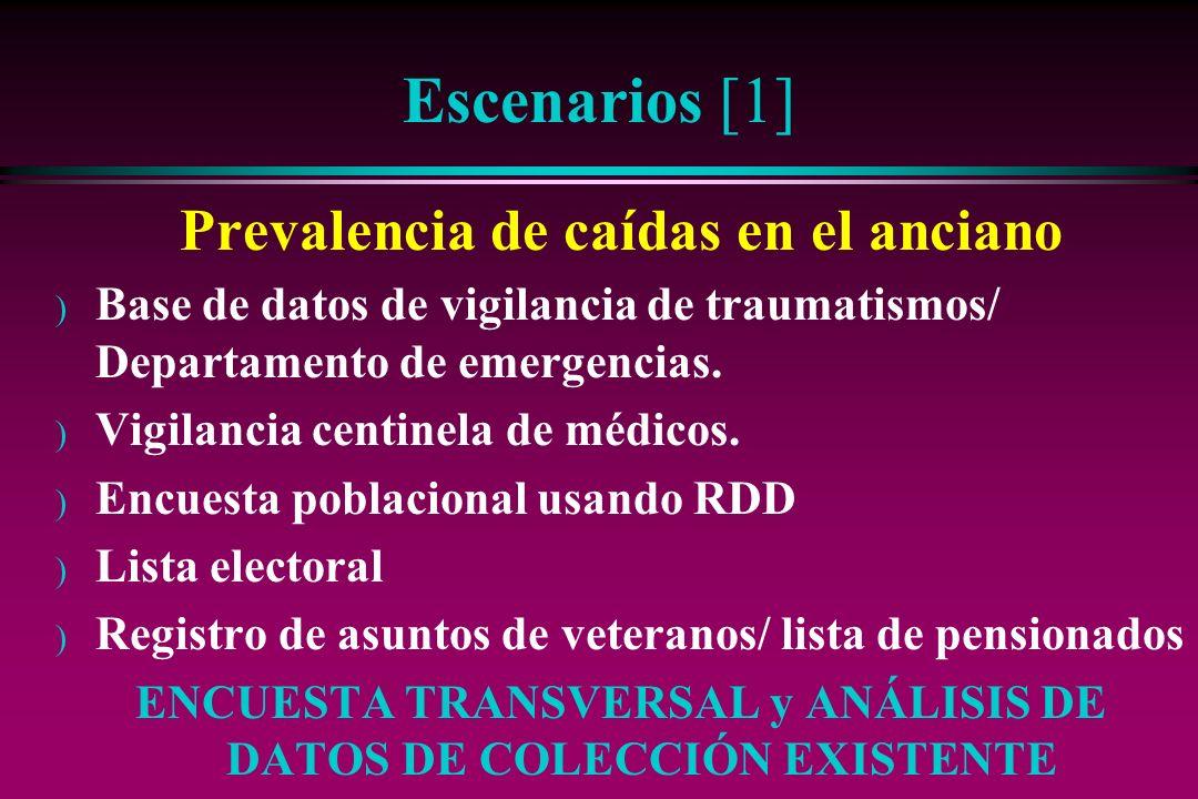 Escenarios [1] Prevalencia de caídas en el anciano ) Base de datos de vigilancia de traumatismos/ Departamento de emergencias. ) Vigilancia centinela