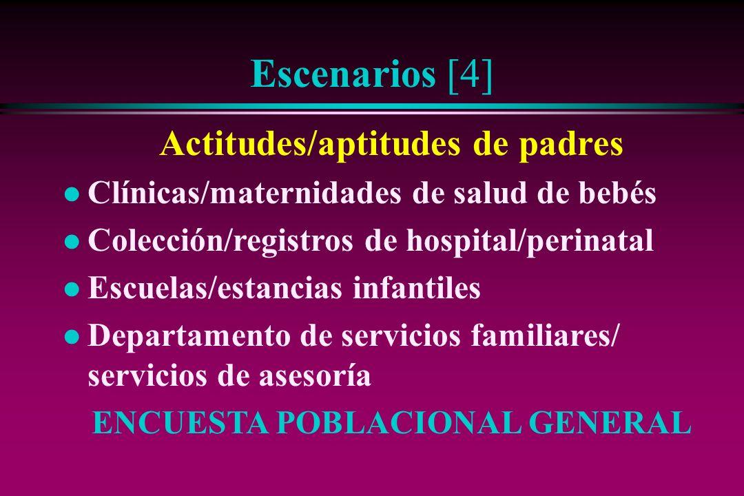 Escenarios [4] Actitudes/aptitudes de padres l Clínicas/maternidades de salud de bebés l Colección/registros de hospital/perinatal l Escuelas/estancia