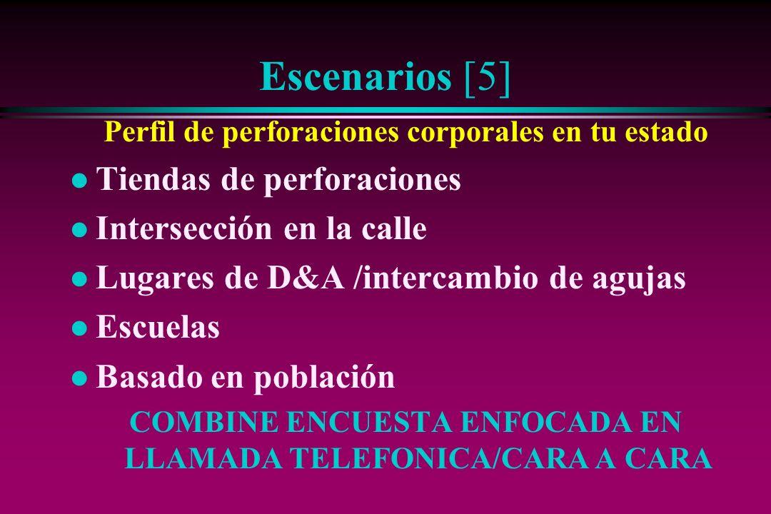 Escenarios [5] Perfil de perforaciones corporales en tu estado l Tiendas de perforaciones l Intersección en la calle l Lugares de D&A /intercambio de