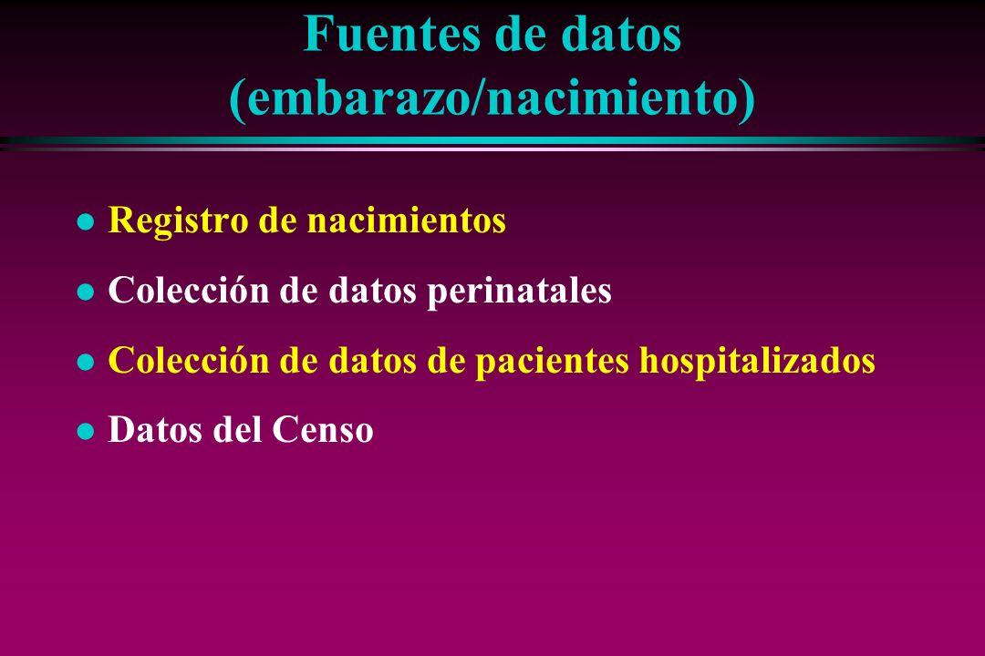 Fuentes de datos (embarazo/nacimiento) l Registro de nacimientos l Colección de datos perinatales l Colección de datos de pacientes hospitalizados l D