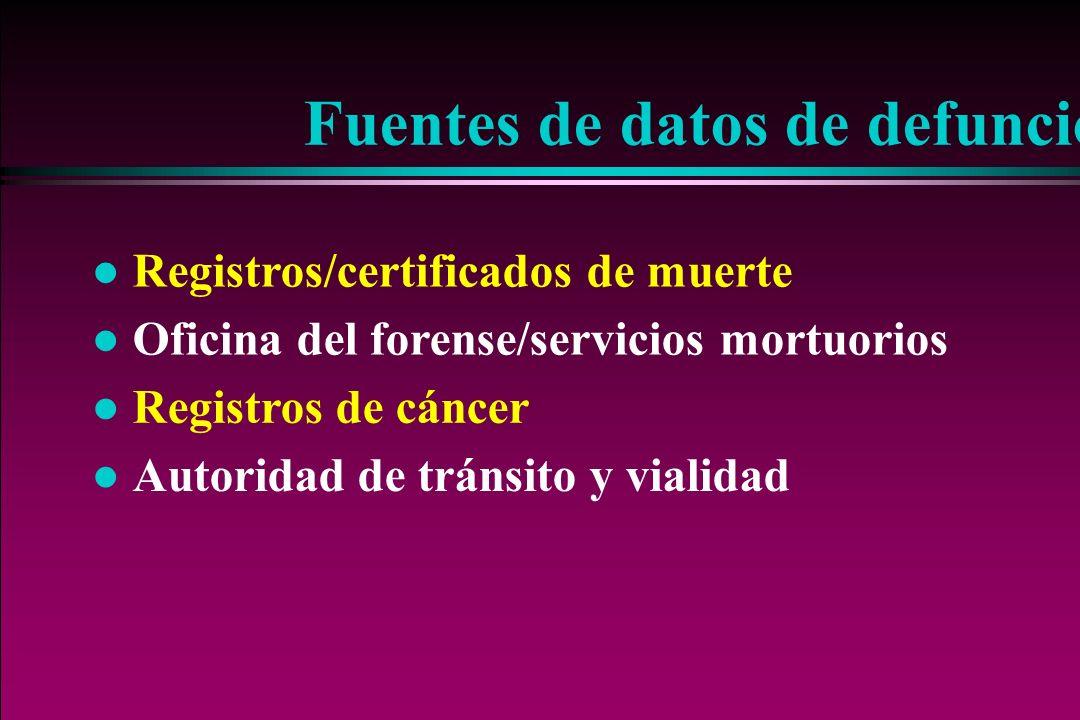 Fuentes de datos de defunciones l Registros/certificados de muerte l Oficina del forense/servicios mortuorios l Registros de cáncer l Autoridad de trá