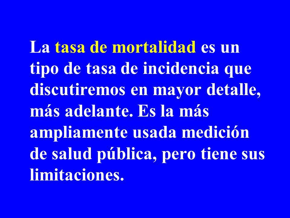 La tasa de mortalidad es un tipo de tasa de incidencia que discutiremos en mayor detalle, más adelante. Es la más ampliamente usada medición de salud