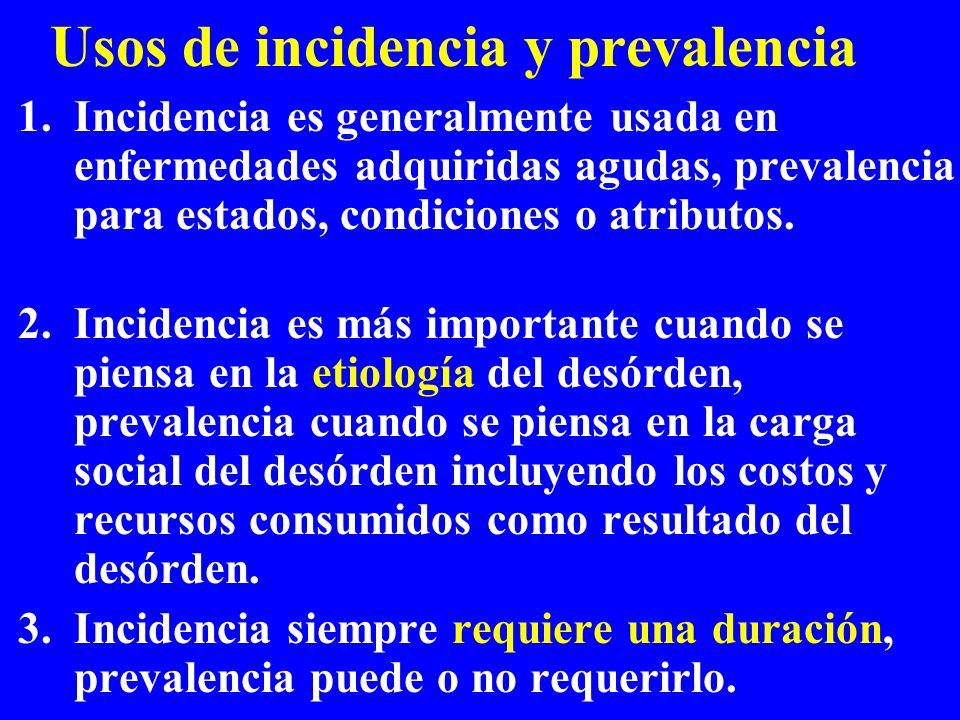 Usos de incidencia y prevalencia 1.Incidencia es generalmente usada en enfermedades adquiridas agudas, prevalencia para estados, condiciones o atribut