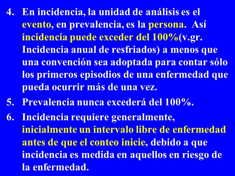 4.En incidencia, la unidad de análisis es el evento, en prevalencia, es la persona. Así incidencia puede exceder del 100%(v.gr. Incidencia anual de re