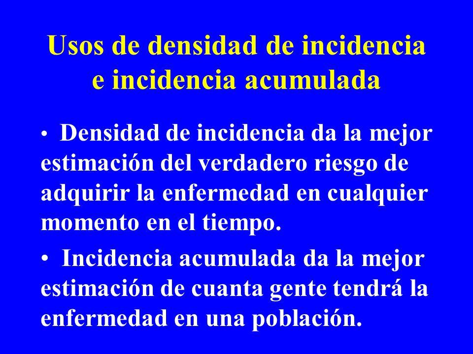 Usos de densidad de incidencia e incidencia acumulada Densidad de incidencia da la mejor estimación del verdadero riesgo de adquirir la enfermedad en