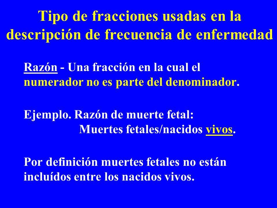 Tipo de fracciones usadas en la descripción de frecuencia de enfermedad Razón - Una fracción en la cual el numerador no es parte del denominador. Ejem