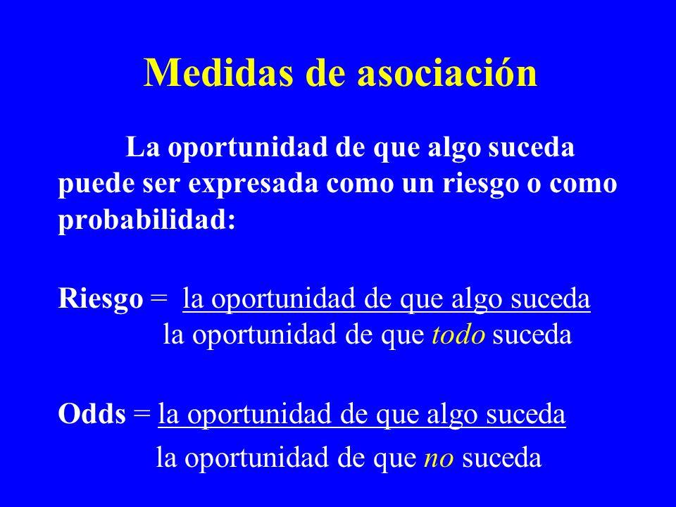 Medidas de asociación La oportunidad de que algo suceda puede ser expresada como un riesgo o como probabilidad: Riesgo = la oportunidad de que algo su