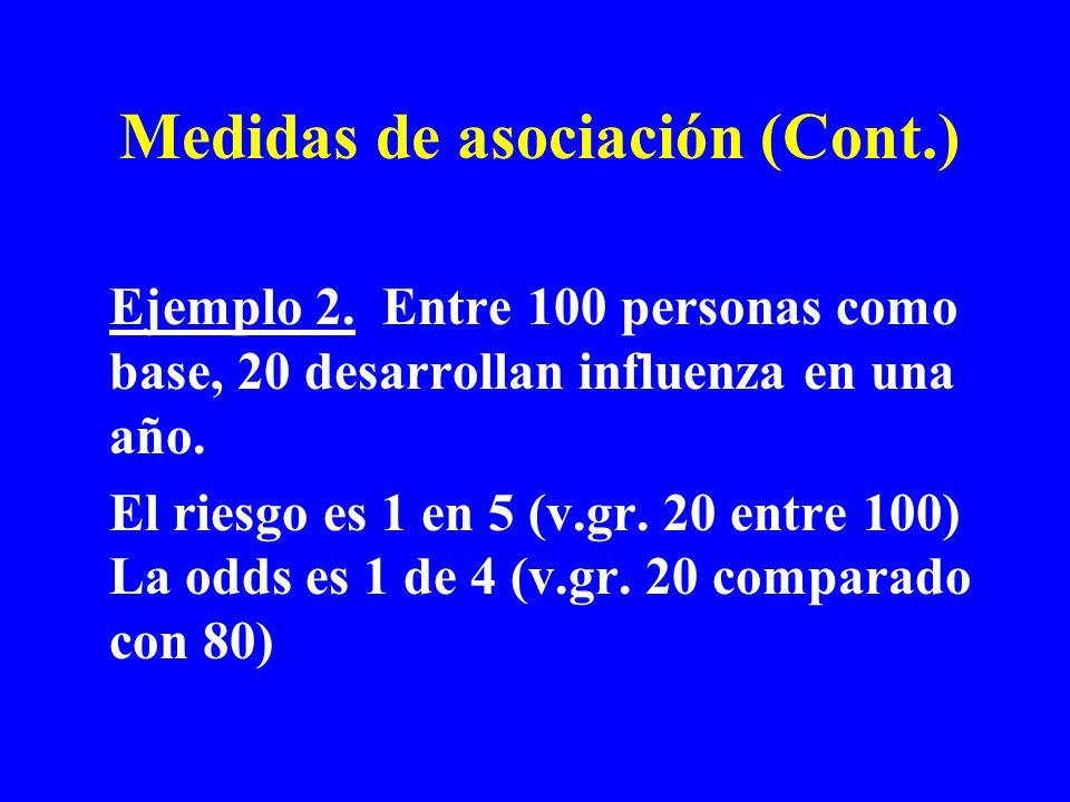 Ejemplo 2. Entre 100 personas como base, 20 desarrollan influenza en una año. El riesgo es 1 en 5 (v.gr. 20 entre 100) La odds es 1 de 4 (v.gr. 20 com