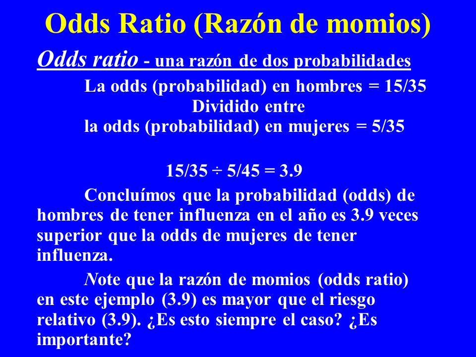 Odds Ratio (Razón de momios) Odds ratio - una razón de dos probabilidades La odds (probabilidad) en hombres = 15/35 Dividido entre la odds (probabilid