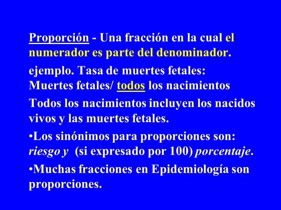 Proporción - Una fracción en la cual el numerador es parte del denominador. ejemplo. Tasa de muertes fetales: Muertes fetales/ todos los nacimientos T