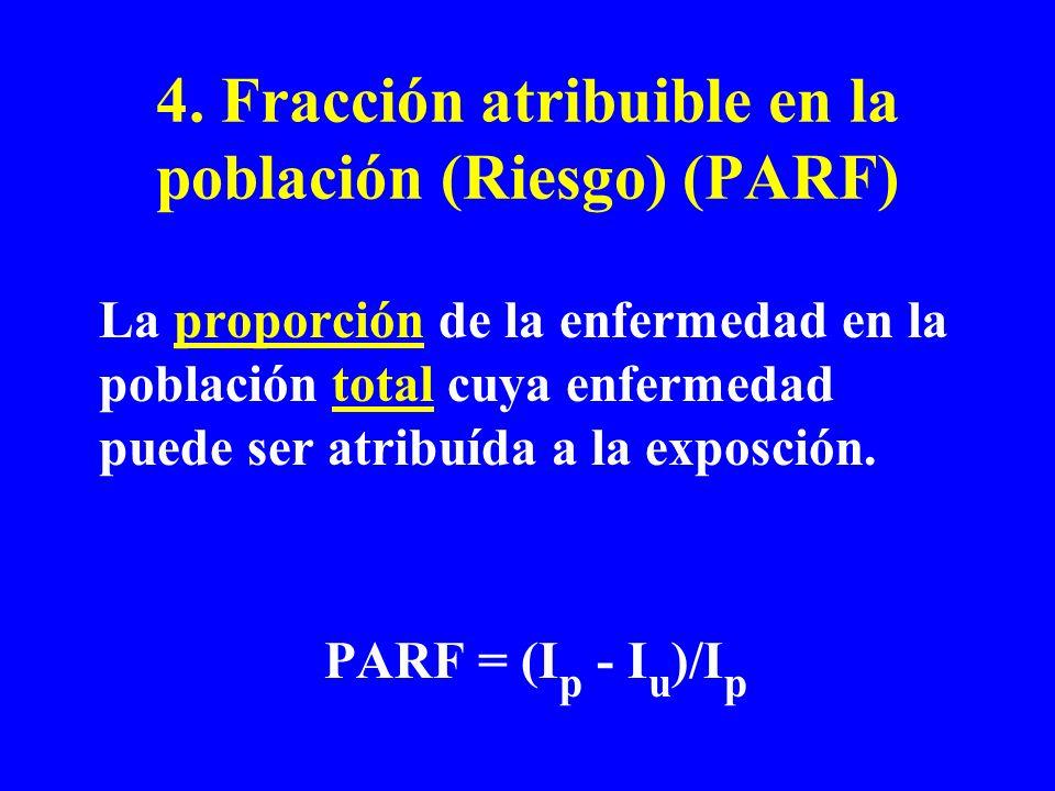 4. Fracción atribuible en la población (Riesgo) (PARF) La proporción de la enfermedad en la población total cuya enfermedad puede ser atribuída a la e