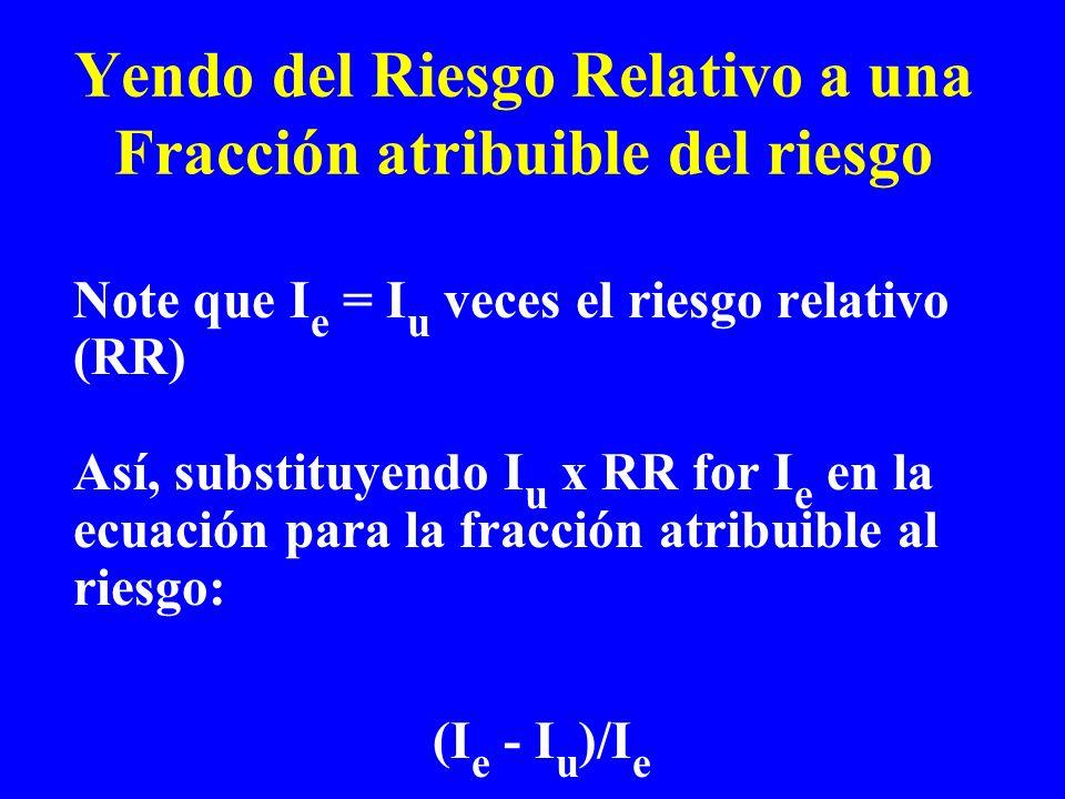 Yendo del Riesgo Relativo a una Fracción atribuible del riesgo Note que I e = I u veces el riesgo relativo (RR) Así, substituyendo I u x RR for I e en