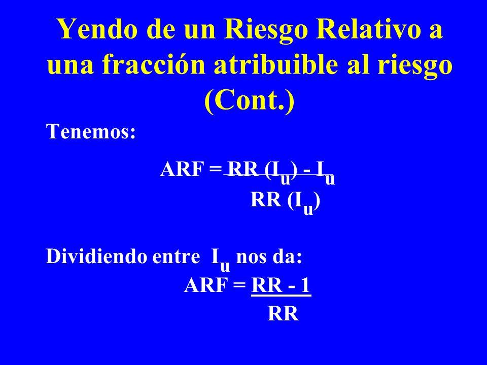 Tenemos: ARF = RR (I u ) - I u RR (I u ) Dividiendo entre I u nos da: ARF = RR - 1 RR Yendo de un Riesgo Relativo a una fracción atribuible al riesgo