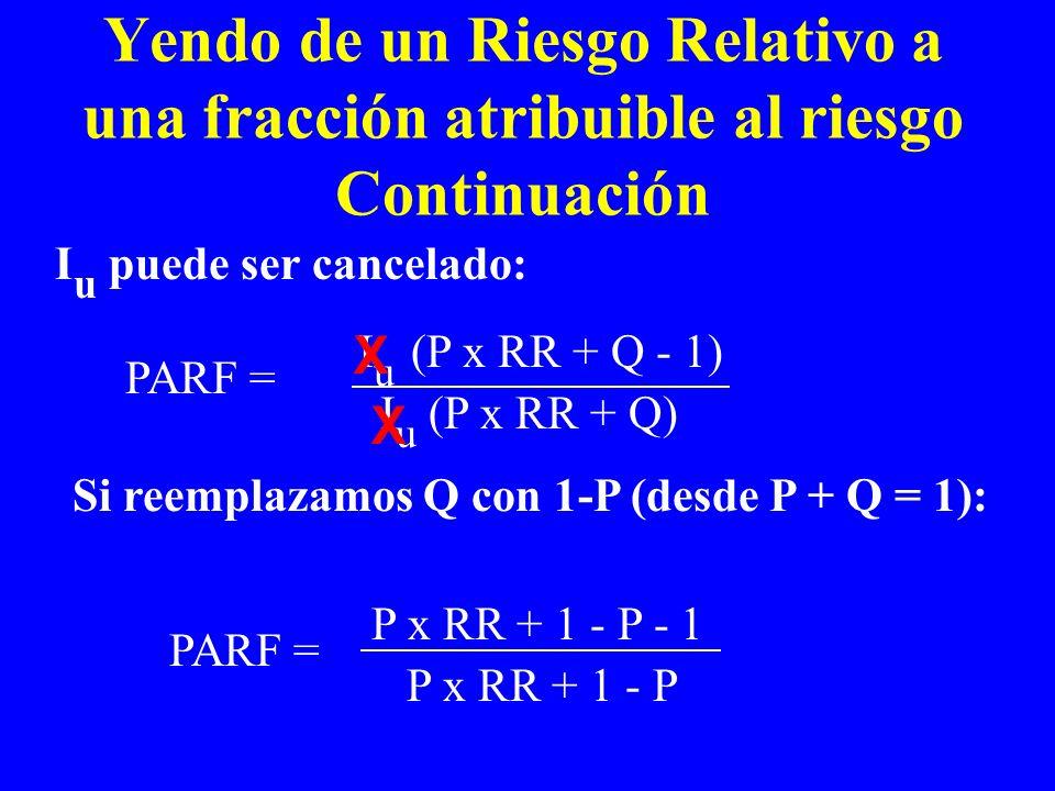 I u puede ser cancelado: Yendo de un Riesgo Relativo a una fracción atribuible al riesgo Continuación PARF = I u (P x RR + Q - 1) I u (P x RR + Q) Si