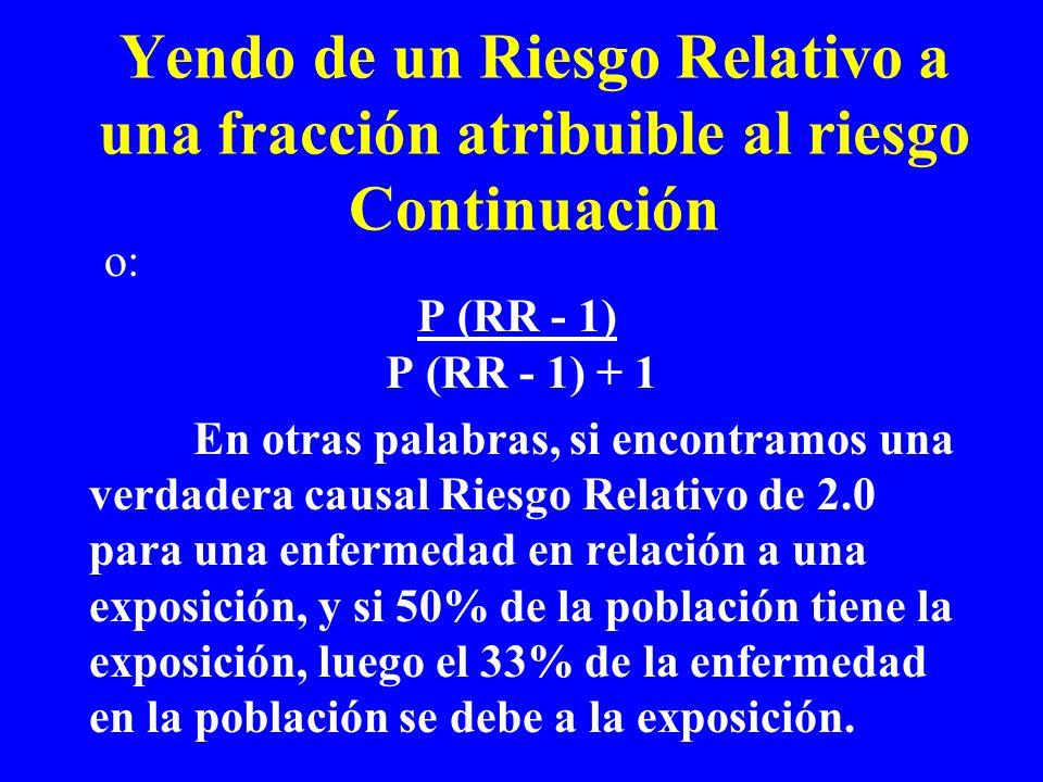 o: P (RR - 1) P (RR - 1) + 1 En otras palabras, si encontramos una verdadera causal Riesgo Relativo de 2.0 para una enfermedad en relación a una expos