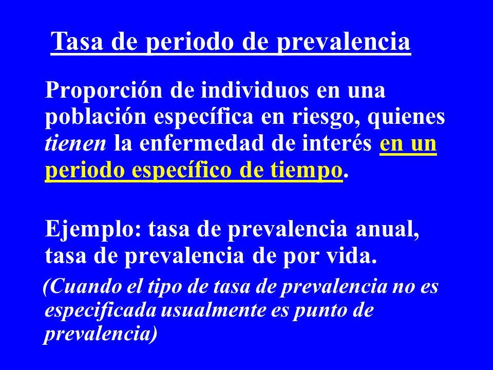 Proporción de individuos en una población específica en riesgo, quienes tienen la enfermedad de interés en un periodo específico de tiempo. Ejemplo: t