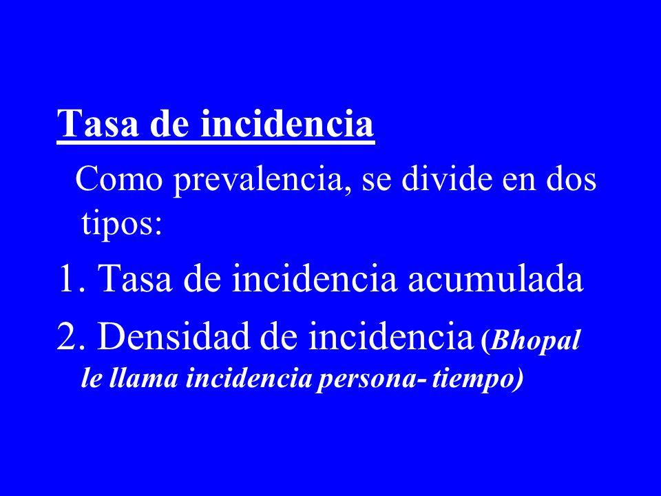 Tasa de incidencia Como prevalencia, se divide en dos tipos: 1. Tasa de incidencia acumulada 2. Densidad de incidencia (Bhopal le llama incidencia per