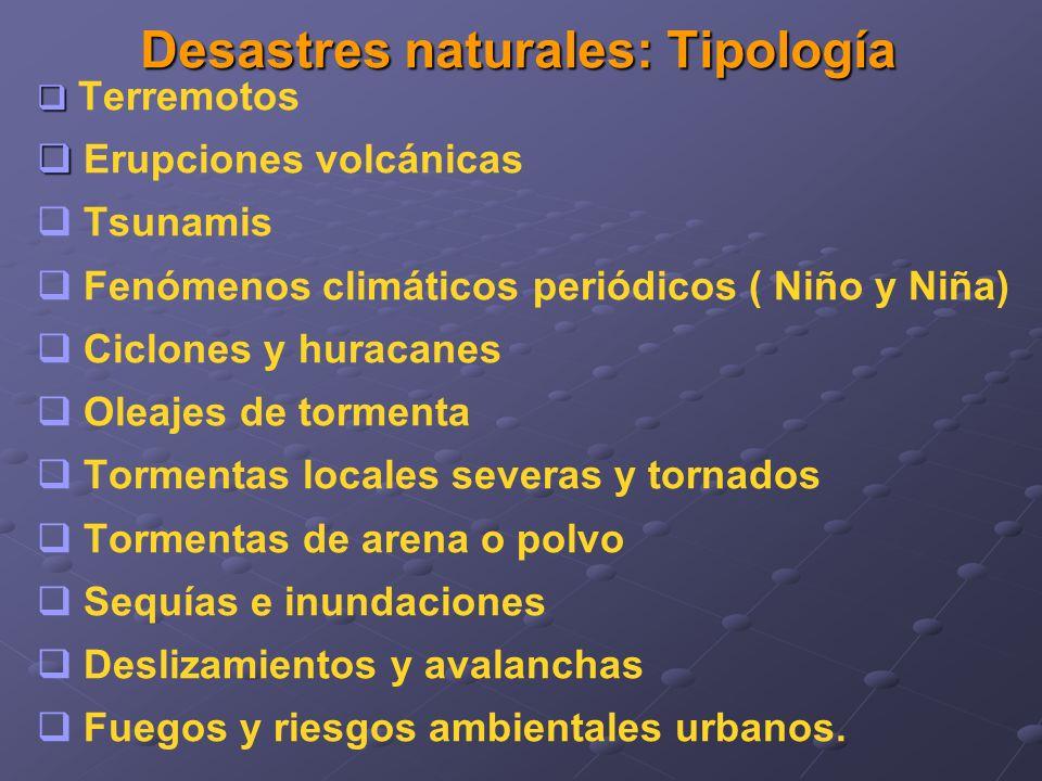 Desastres naturales: Tipología Terremotos Erupciones volcánicas Tsunamis Fenómenos climáticos periódicos ( Niño y Niña) Ciclones y huracanes Oleajes d