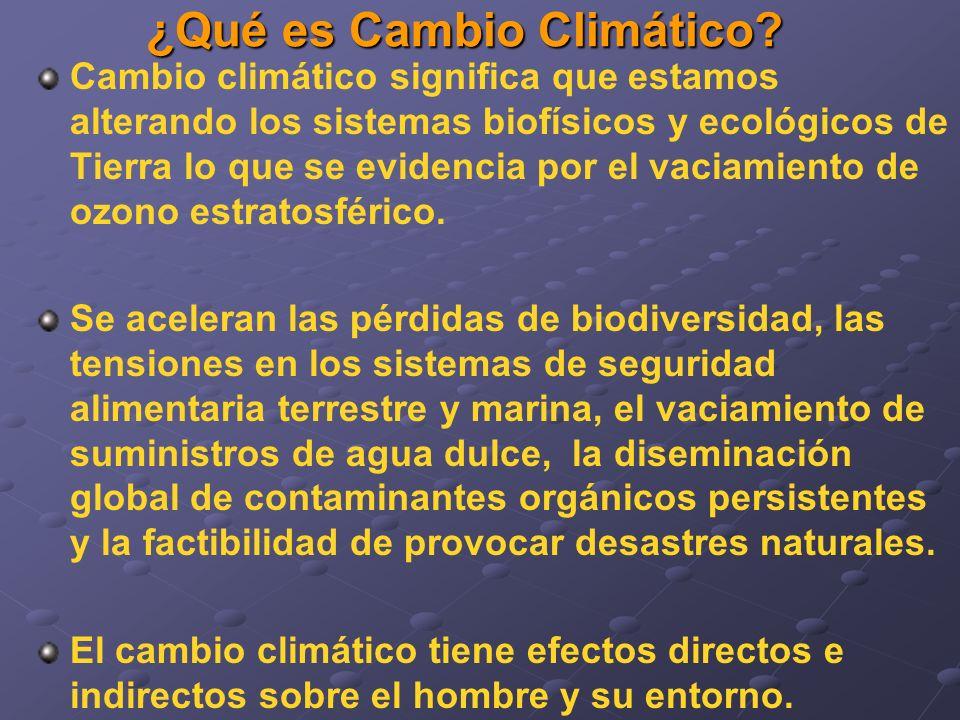 ¿Qué es Cambio Climático? Cambio climático significa que estamos alterando los sistemas biofísicos y ecológicos de Tierra lo que se evidencia por el v