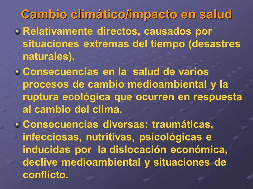 Relativamente directos, causados por situaciones extremas del tiempo (desastres naturales). Consecuencias en la salud de varios procesos de cambio med