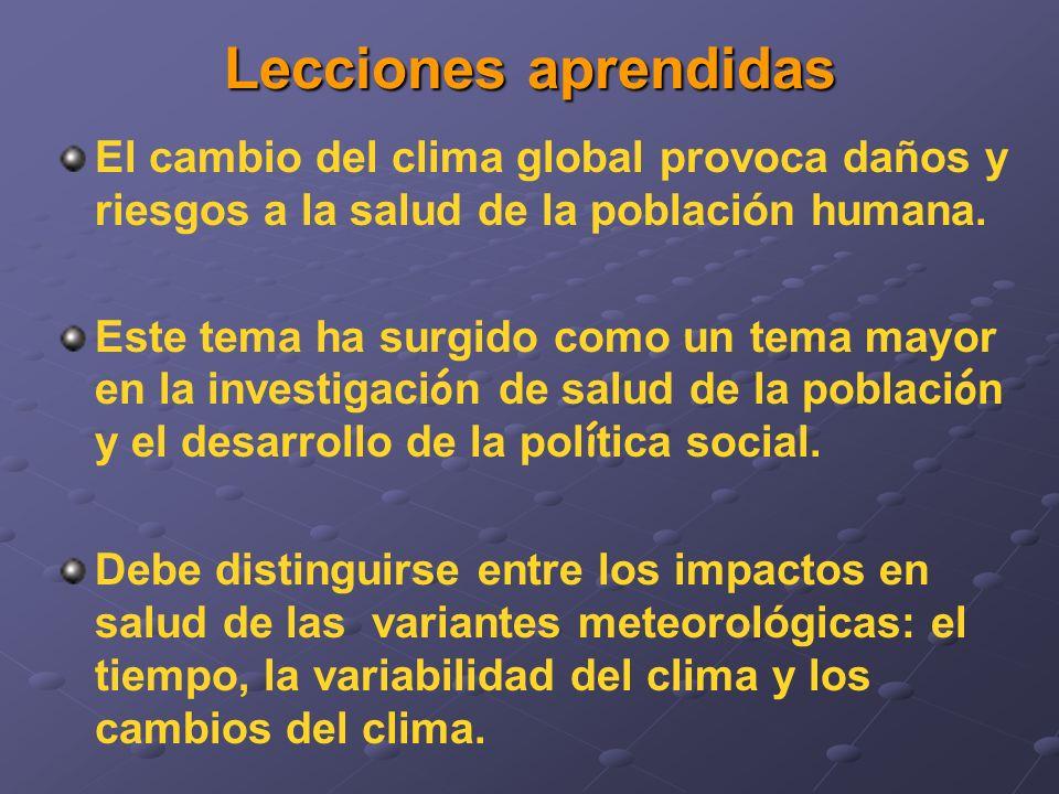 El cambio del clima global provoca daños y riesgos a la salud de la población humana. Este tema ha surgido como un tema mayor en la investigaci ó n de