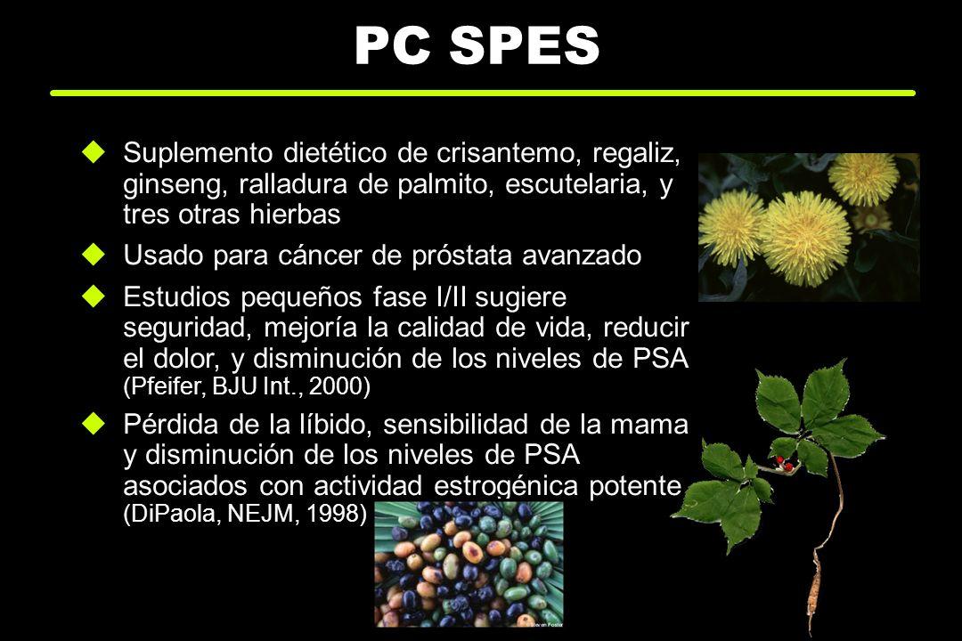 PC SPES Suplemento dietético de crisantemo, regaliz, ginseng, ralladura de palmito, escutelaria, y tres otras hierbas Usado para cáncer de próstata av