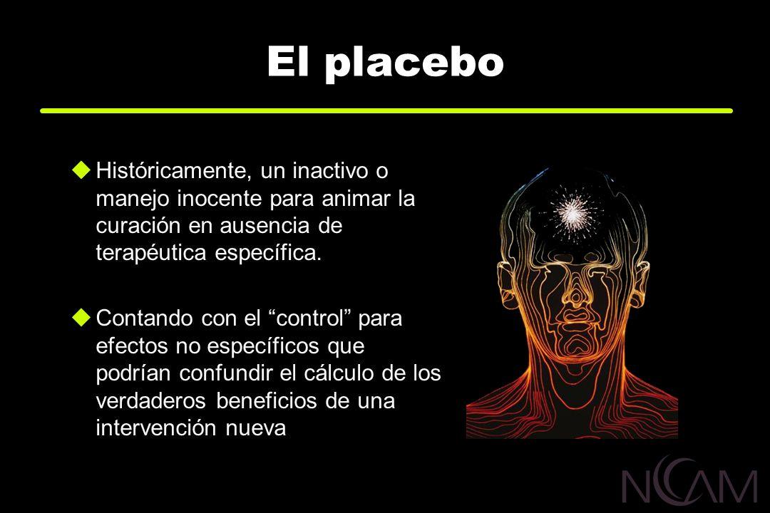 El placebo Históricamente, un inactivo o manejo inocente para animar la curación en ausencia de terapéutica específica. Contando con el control para e