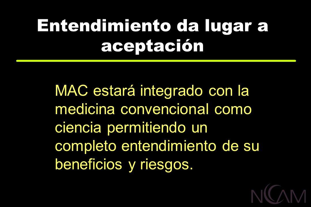 Entendimiento da lugar a aceptación MAC estará integrado con la medicina convencional como ciencia permitiendo un completo entendimiento de su benefic