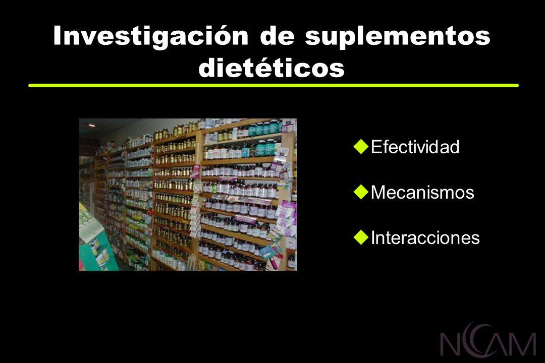 Investigación de suplementos dietéticos Efectividad Mecanismos Interacciones