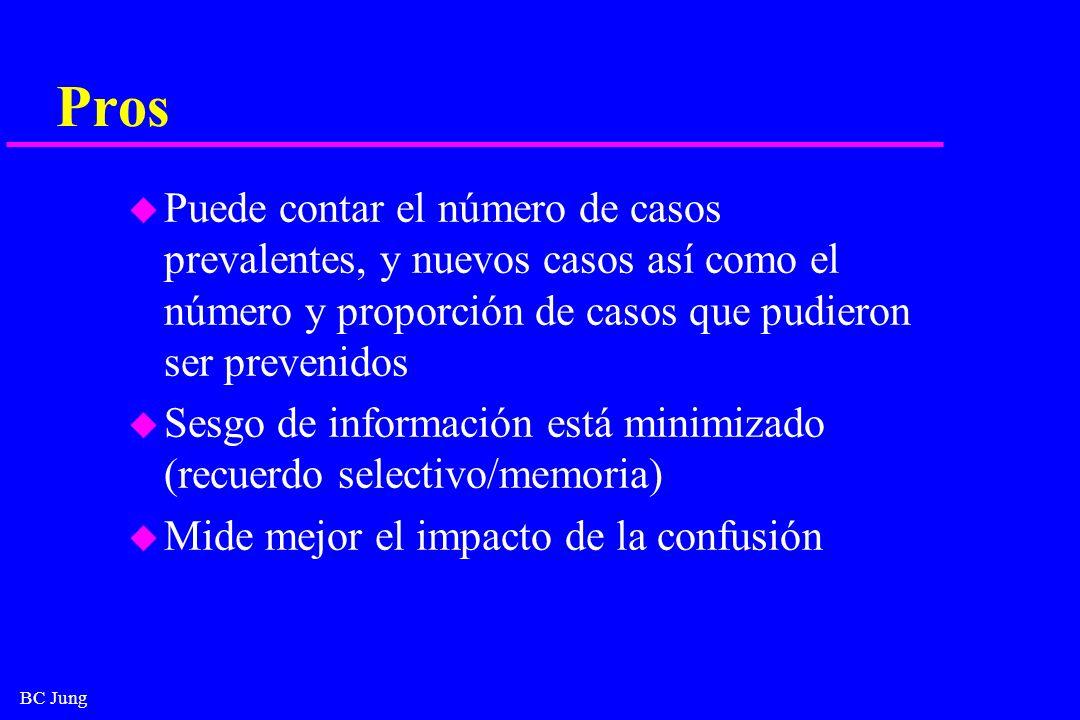 BC Jung Pros u Puede contar el número de casos prevalentes, y nuevos casos así como el número y proporción de casos que pudieron ser prevenidos u Sesg