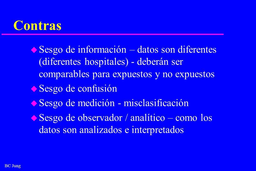 BC Jung Contras u Sesgo de información – datos son diferentes (diferentes hospitales) - deberán ser comparables para expuestos y no expuestos u Sesgo