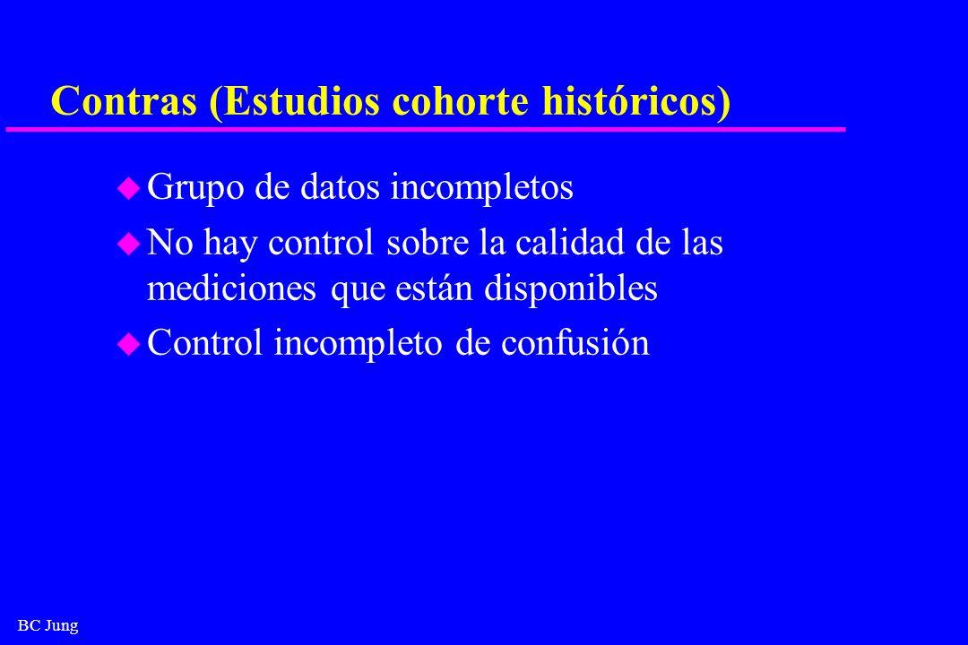 BC Jung Contras (Estudios cohorte históricos) u Grupo de datos incompletos u No hay control sobre la calidad de las mediciones que están disponibles u