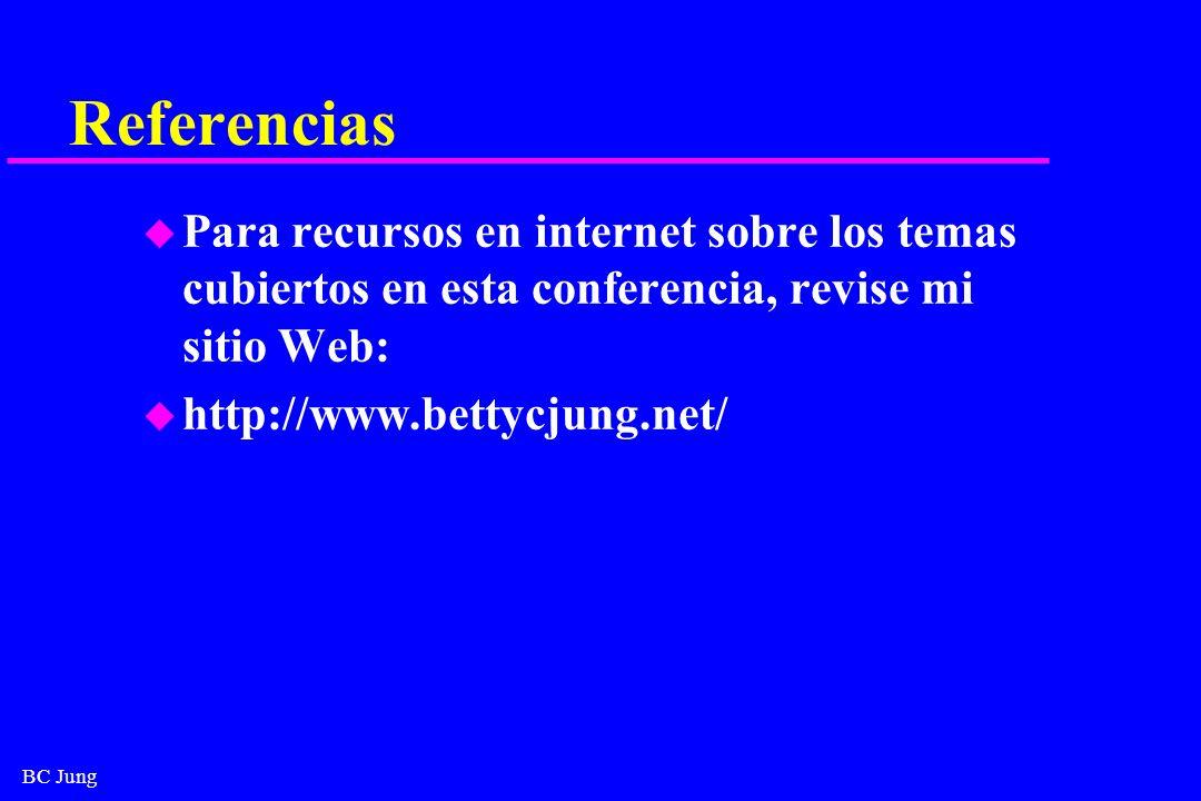 BC Jung Referencias u Para recursos en internet sobre los temas cubiertos en esta conferencia, revise mi sitio Web: u http://www.bettycjung.net/