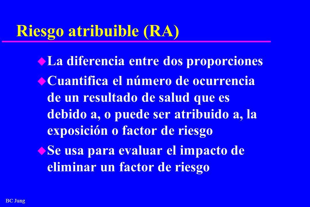 BC Jung Riesgo atribuible (RA) u La diferencia entre dos proporciones u Cuantifica el número de ocurrencia de un resultado de salud que es debido a, o