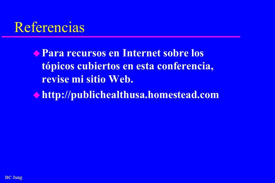 BC Jung Referencias u Para recursos en Internet sobre los tópicos cubiertos en esta conferencia, revise mi sitio Web. u http://publichealthusa.homeste