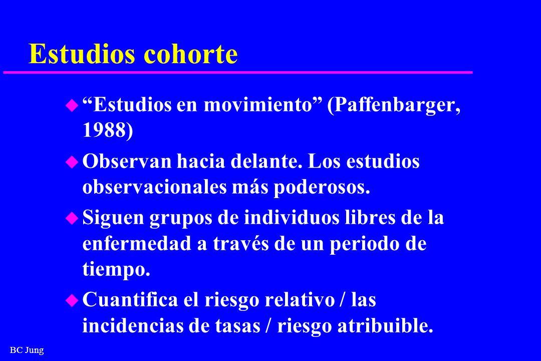 BC Jung Estudios cohorte u Estudios en movimiento (Paffenbarger, 1988) u Observan hacia delante. Los estudios observacionales más poderosos. u Siguen