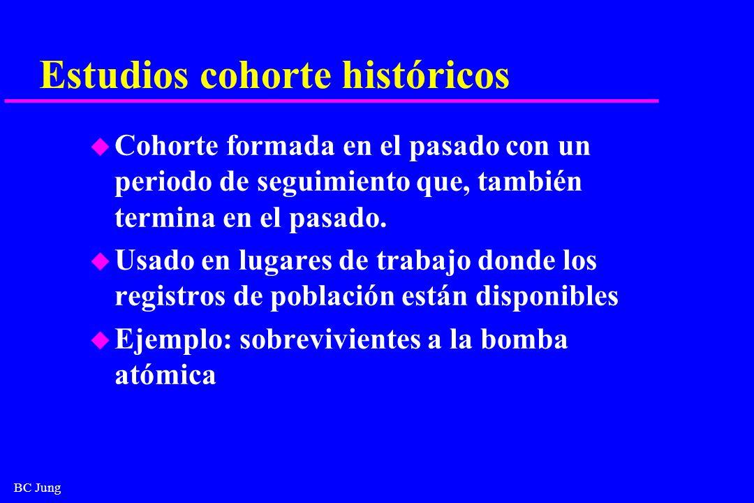 BC Jung Estudios cohorte históricos u Cohorte formada en el pasado con un periodo de seguimiento que, también termina en el pasado. u Usado en lugares