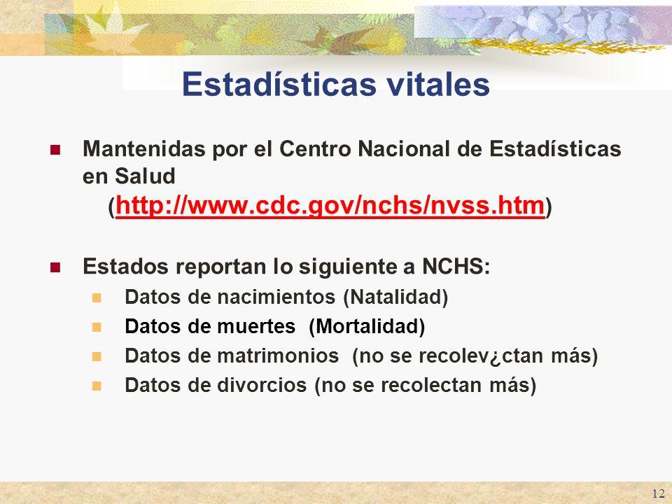 12 Estadísticas vitales Mantenidas por el Centro Nacional de Estadísticas en Salud ( http://www.cdc.gov/nchs/nvss.htm ) http://www.cdc.gov/nchs/nvss.h