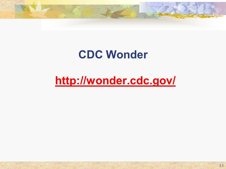 13 CDC Wonder http://wonder.cdc.gov/