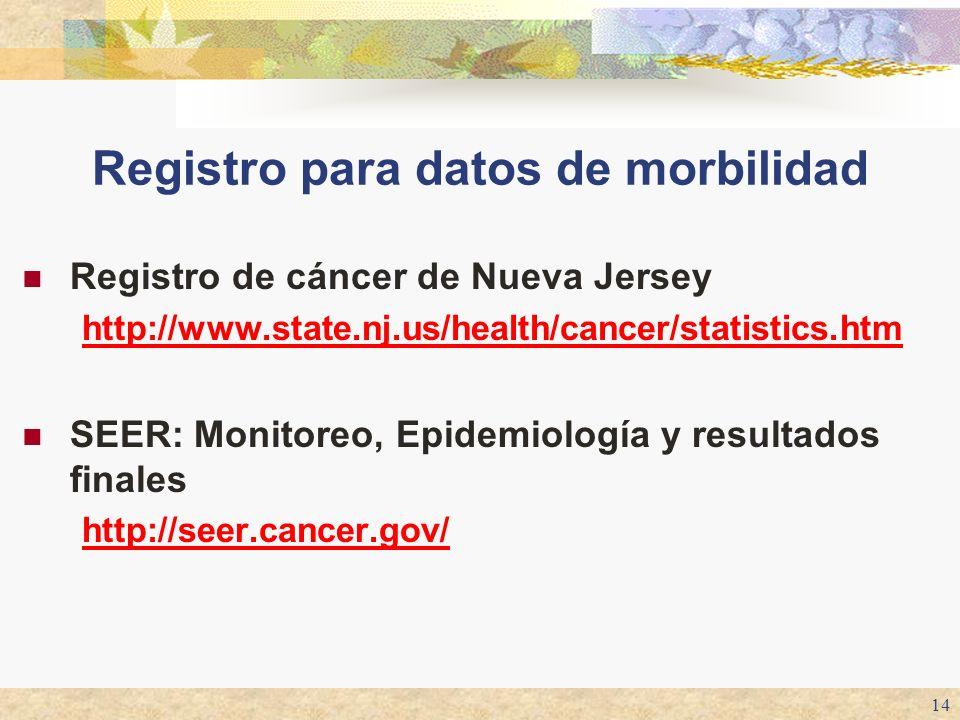 14 Registro para datos de morbilidad Registro de cáncer de Nueva Jersey http://www.state.nj.us/health/cancer/statistics.htm SEER: Monitoreo, Epidemiol