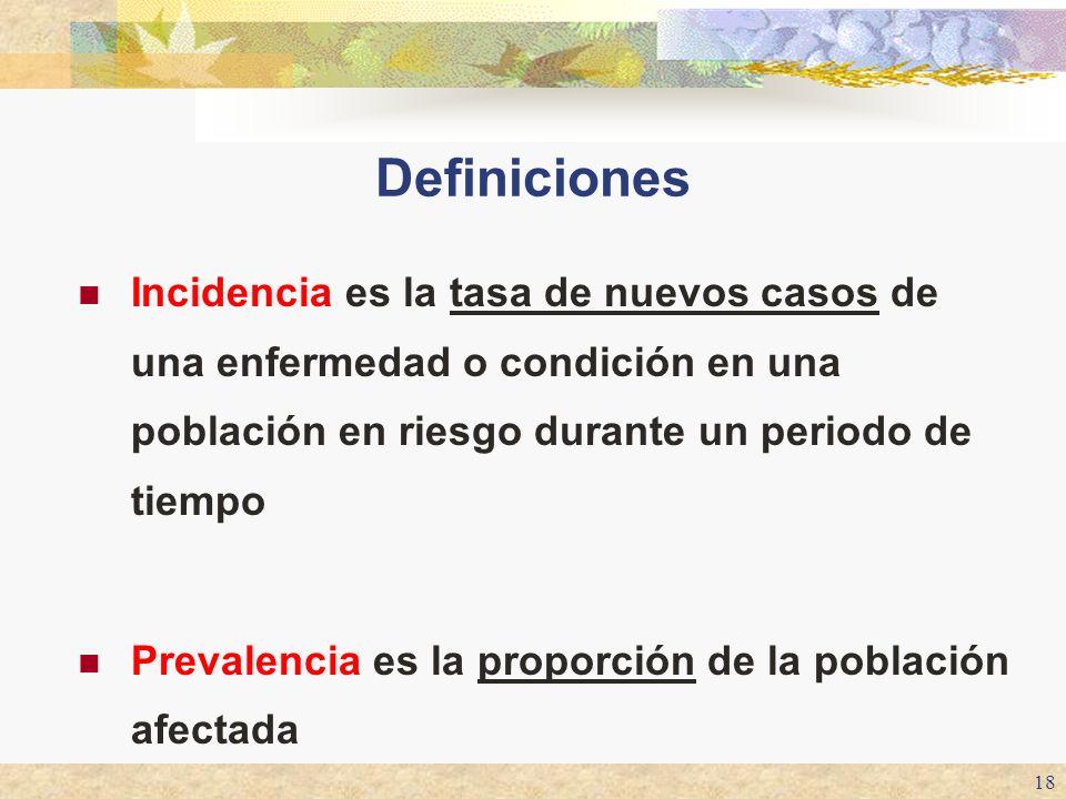 18 Definiciones Incidencia es la tasa de nuevos casos de una enfermedad o condición en una población en riesgo durante un periodo de tiempo Prevalenci
